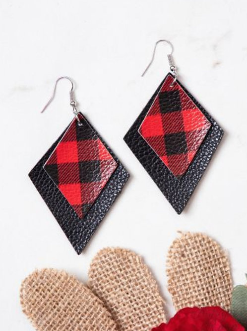 RED BUFFALO PLAID LAYERED LEATHER EARRINGS #307
