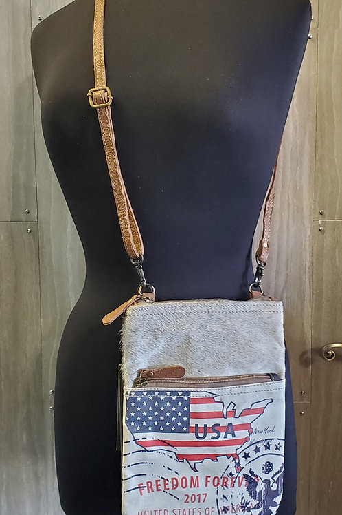 FREEDOM FOREVER MESSENGER STYLE CANVAS & LEATHER BAG PURSE #529