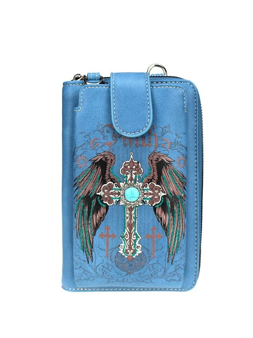 BLUE FAITH CROSS WING PHONE CASE WALLET PURSE WITH 12 CARD SLOTS #199