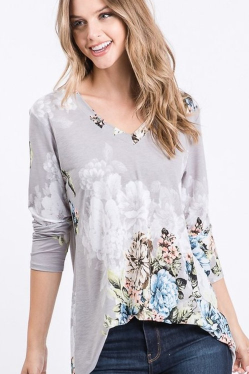 GREY BLUE & PINK FLOWER PRINT V-NECK TOP #331