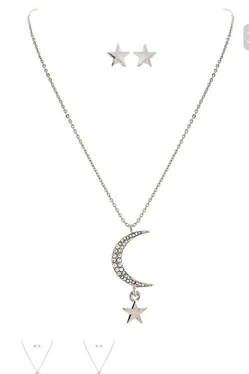 RAIN JEWELRY CRYSTAL MOON & STAR SHORT NECKLACE SET #609