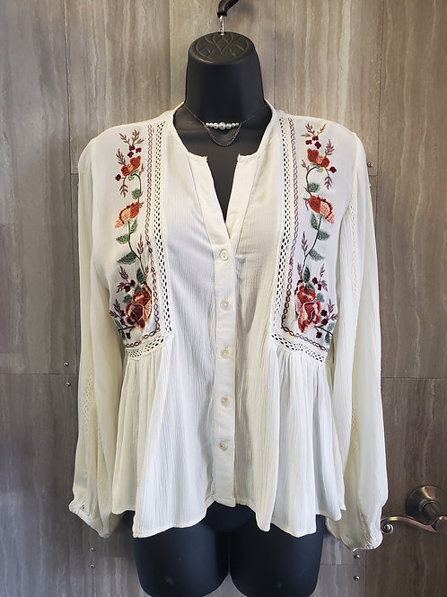 WHITE LONG SLEEVE BLOUSE WITH CROCHET DETAILS #003