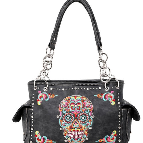 BLACK SUGAR SKULL MONTANA WEST CONCEALED CARRY PURSE #689