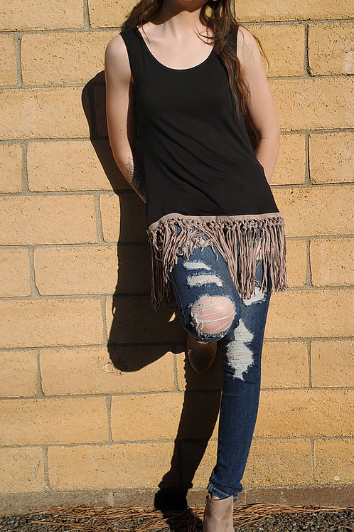 BLACK TANK WITH TAN FRINGE SIZES SMALL TO 2X #739
