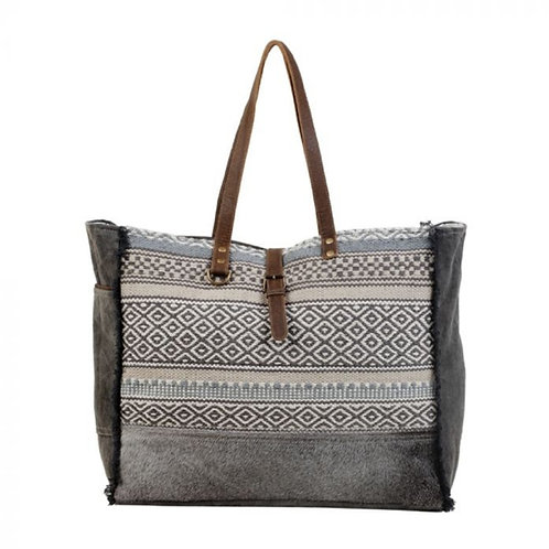 MYRA BAG LARGE WOVEN WEEKENDER BAG WITH HAIR ON LEATHER #708