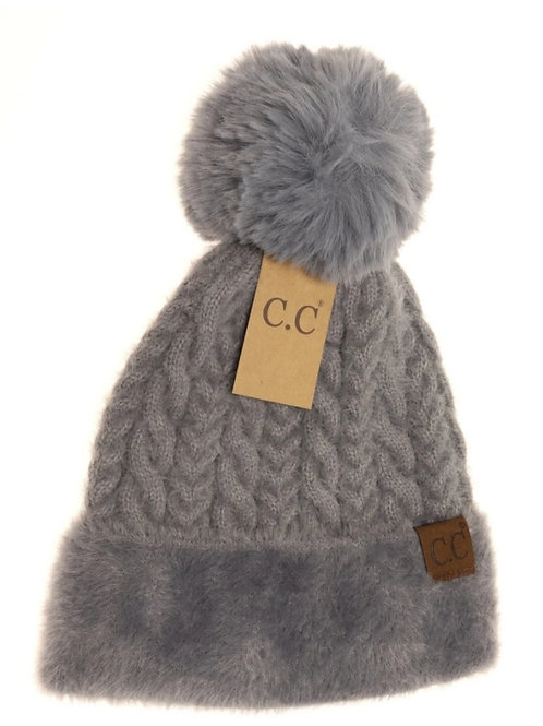 CABLE KNIT FAUX FUR POM CC BEANIE IN GREY #297