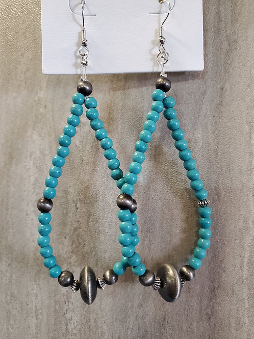 """4"""" TURQUOISE BEADED TEARDROP EARRINGS WITH FAUX NAVAJO PEARL ACCENTS #552"""