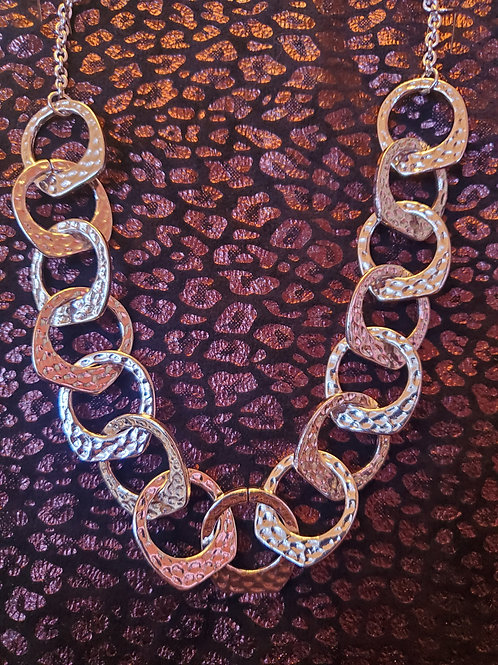 RAIN JEWELRY GEOMETRIC CIRCLES HAMMERED SILVER NECKLACE & EARRINGS SET #393