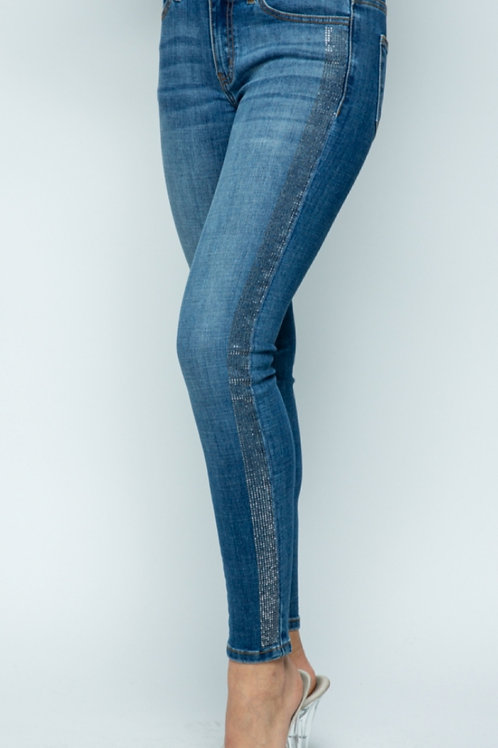 VOCAL BRAND STRETCHY JEANS WITH SPARKLY STRIP DOWN SIDES