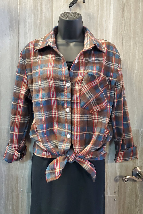 BLUE & RED CHECK BUTTON UP FLANNEL SHIRT DRESS #316