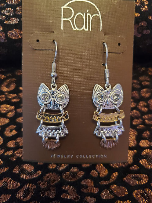 RAIN JEWELRY MULTI METAL OWL EARRINGS #385