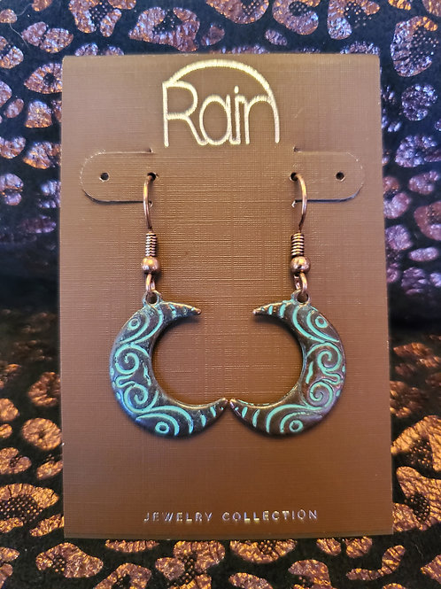RAIN JEWELRY COPPER PATINA CRESENT MOON EARRINGS #346