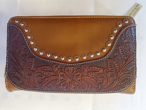 MONTANA WEST TOOLED LEATHER WALLET IN BLACK & BROWN #695