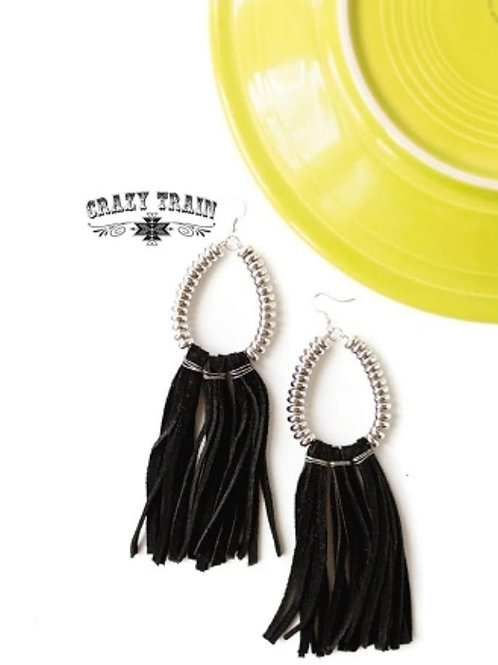 RIO GRANDE SILVER WITH BLACK LEATHER EARRINGS BY CRAZY TRAIN #734