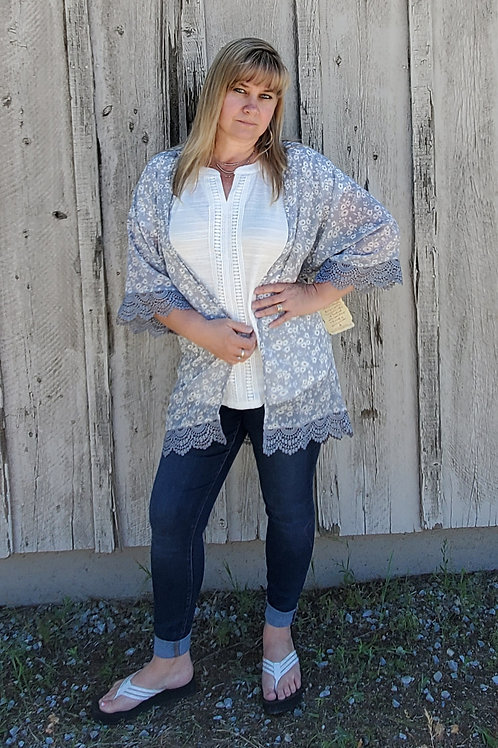 IVORY & BLUE FLORAL KIMONO WITH CROCHET LACE DETAILS #786
