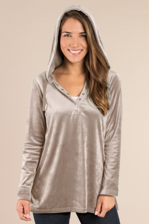 VELVET PULLOVER HOODED SWEATER WITH SNAP DETAIL IN STONE & BLACK SUPER SOFT #417