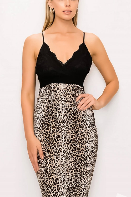 LEOPARD PRINT DRESS WITH LACE BODICE STRETCHY! #064