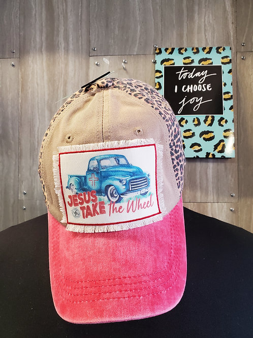 JESUS TAKE THE WHEEL PINK & LEOPARD BASEBALL CAP HAT #546