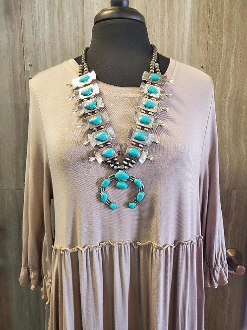 Western style BOHO CHIC turquoise Squash Blossom necklace