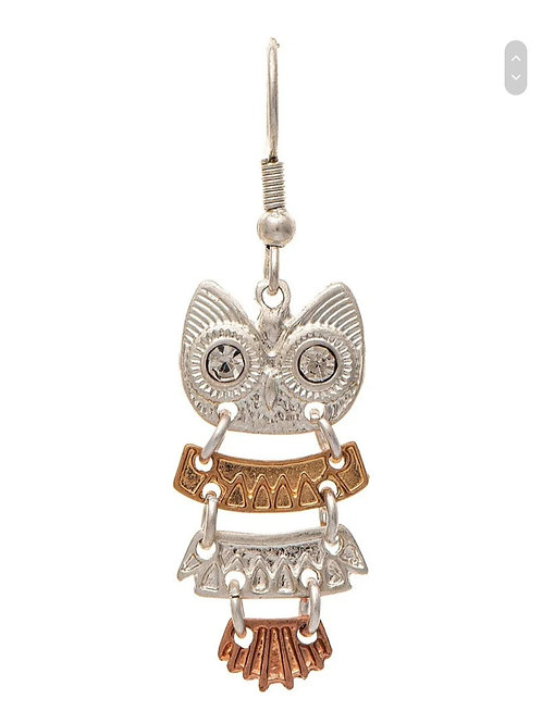 "1.5"" MULTI METAL DANGLY OWL EARRINGS BY RAIN JEWELRY #097"