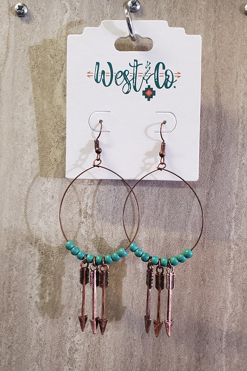 BURNISHED COPPER HOOP WITH 3 ARROW DROP EARRINGS #616