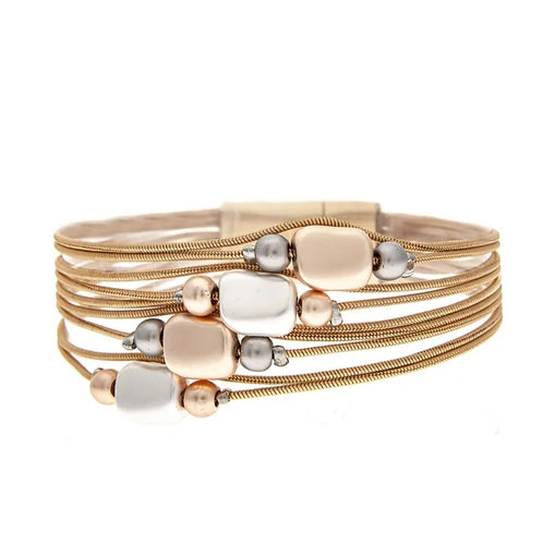 TWO COLORS SILVER & ROSE GOLD MULTI METAL MAGNETIC CLASP BRACELETS #473