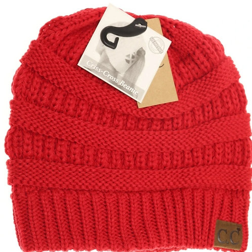 BRIGHT RED COLORED CRISS CROSS PONY CC BEANIE #290
