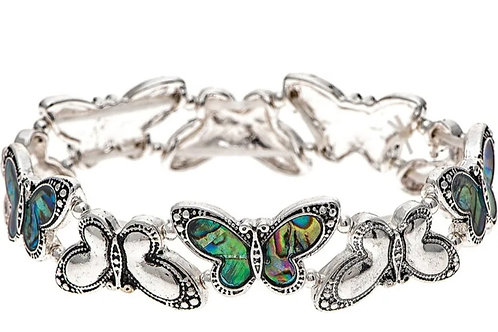 SILVER ABALONE STRETCHY BUTTERFLY BRACELET BY RAIN JEWELRY #130