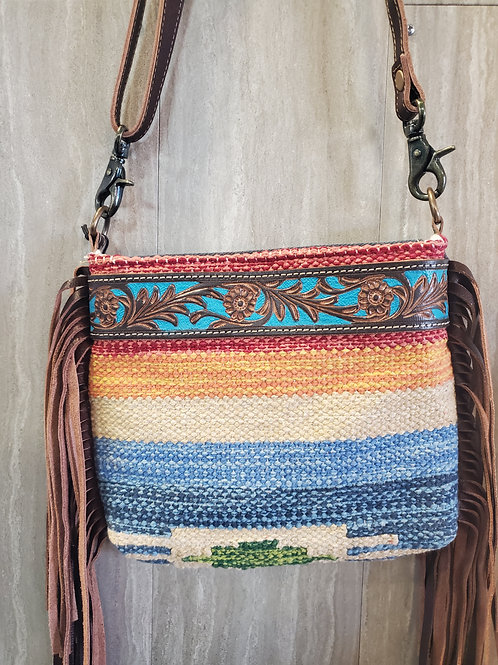 MESSENGER STYLE 100% TOOLED LEATHER FRING & COTTON WOVEN BAG #525