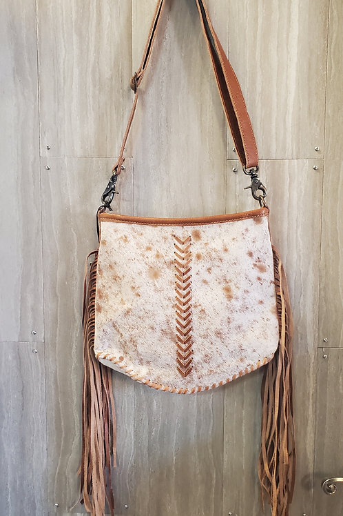 100% LEATHER FRINGE PURSE WITH HAIR ON.  CAN BE A SHOULDER BAG OR MESSENGER #523