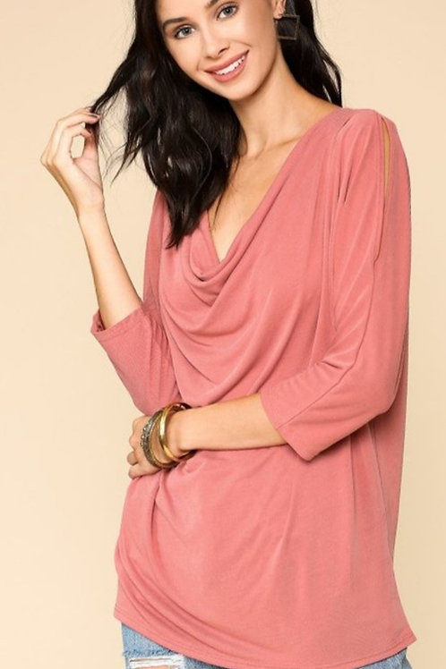 FRONT DRAP NECKLINE & COLD SHOULDER 3/4 SLEEVE IN TWO COLORS #253