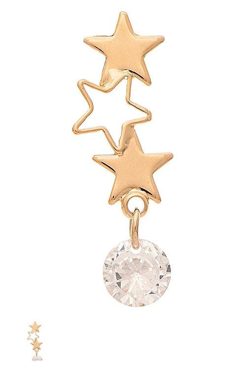 RAIN JEWELRY GOLD STAR & CRYSTAL EARRINGS #796