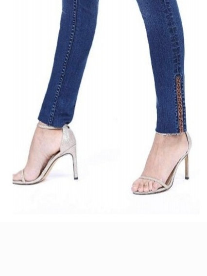 GRACE IN LA SKINNY JEANS WITH LEOPARD PRINT DETAIL ON ANKLE #663