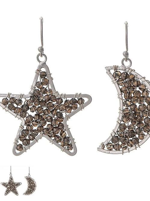 RAIN JEWELRY HEMATITE STAR & MOON EARRINGS #792