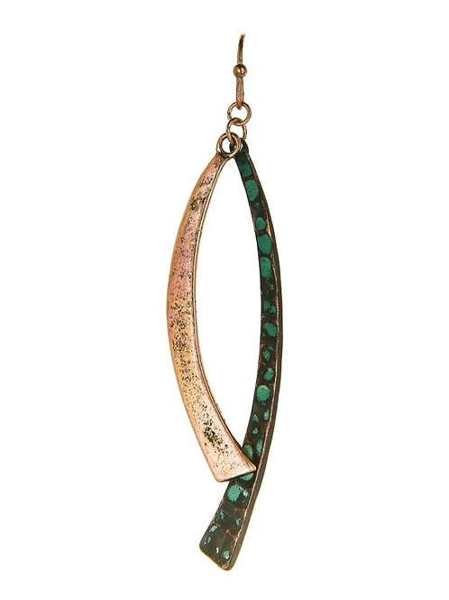 """2.5"""" PATINA GOLD SWINGING ARCH EARRINGS BY RAIN JEWELRY #094"""