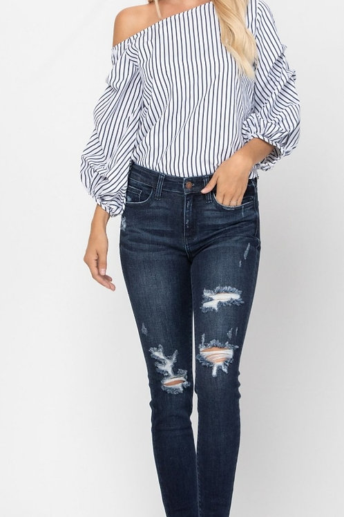 JUDY BLUE MID-RISE DESTROYED SKINNY JEANS STRETCHY! #571