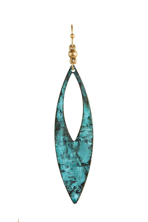 """3"""" PATINA POINTED DROP EARRINGS BY RAIN JEWELRY #086"""