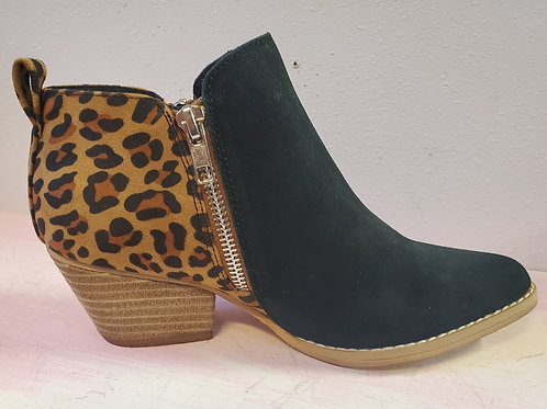 VERY VOLATILE LEOPARD AND BLACK ZIP UP POINTED BOOT #434
