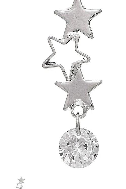 RAIN JEWELRY SILVER STAR & CRYSTAL EARRINGS #795