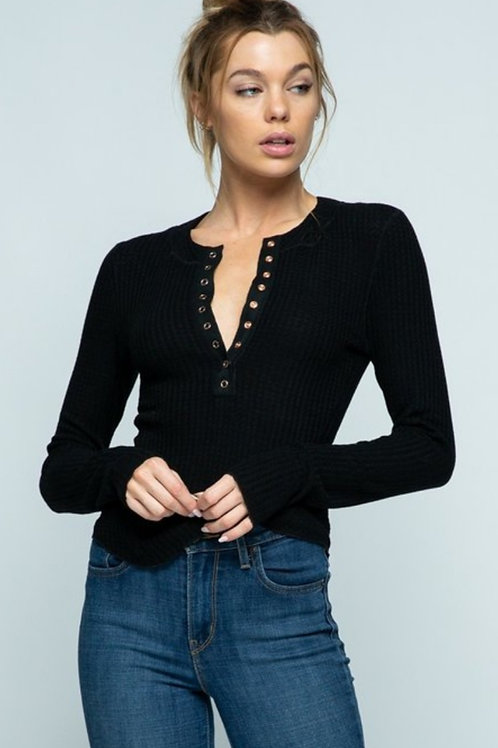 SOFT WAFFLE KNIT HENLEY STYLE SNAP UP DETAIL LONG SLEEVE TOP #473