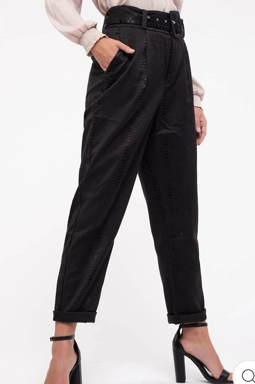 BLACK PLEATED BELTED DRESS PANTS WITH A SLIGHT SNAKESKIN PRINT #436