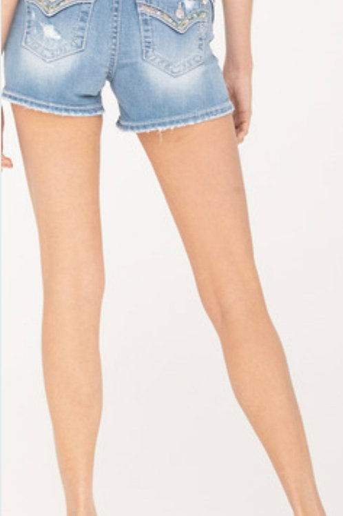MISS ME BRAND MID-RISE  SHORTS WITH SEQUINS #840