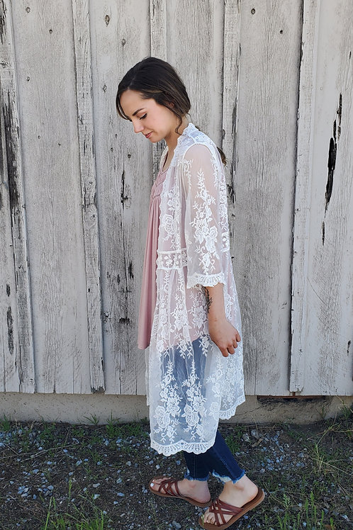 IVORY SCALLOPED EDGED EMBROIDERED MESH LACE CARDIGAN DUSTER KIMONO #756
