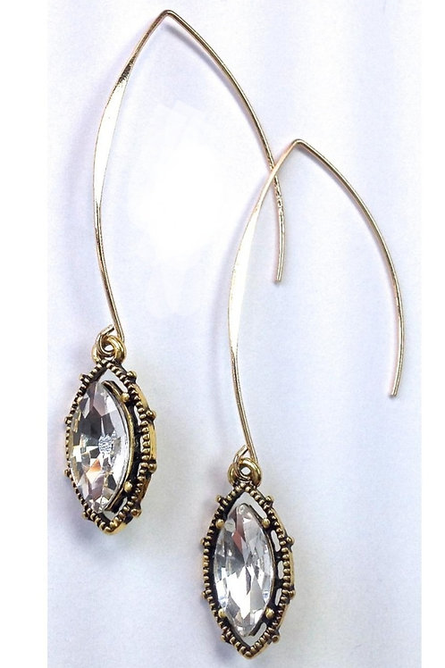 """2.5"""" GOLD DROP CRYSTAL EARRINGS BY LOST & FOUND TRADING CO #038"""