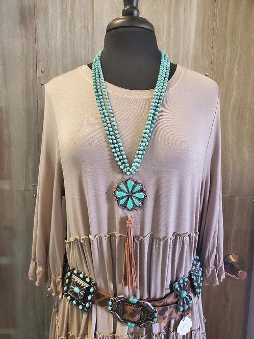 Western style BOHO CHIC turquoise flower necklace