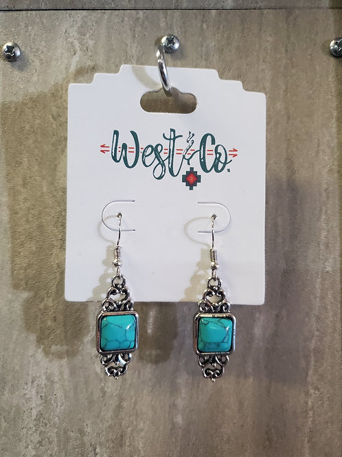 BURNISHED SILVER SCROLL EARRINGS WITH TURQUOISE STONE #613