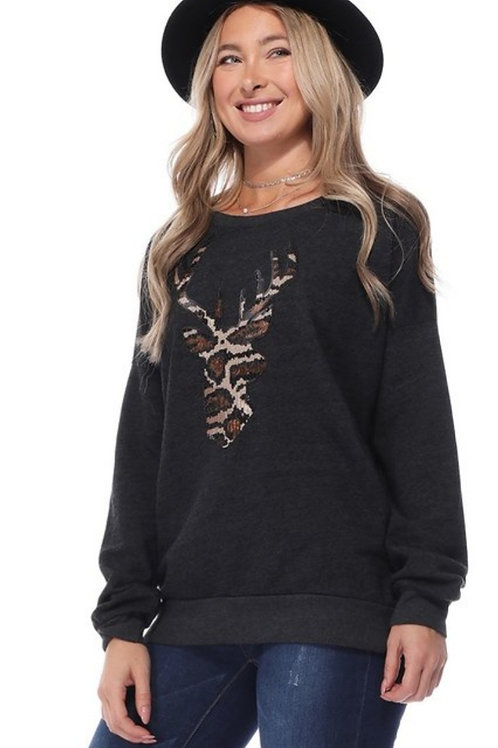 SEQUIN LEOPARD DEER BUCK SWEATSHIRT #323