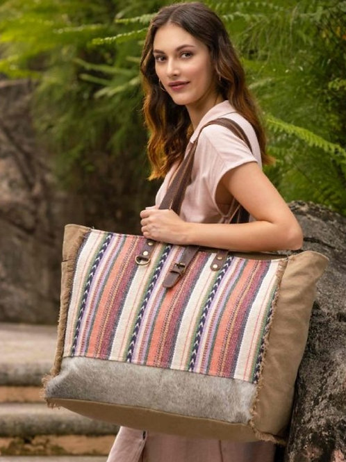MYRA BAG CANVAS & WOVEN COTTON & HAIR ON LEATHER WEEKENDER TOTE PURSE #712
