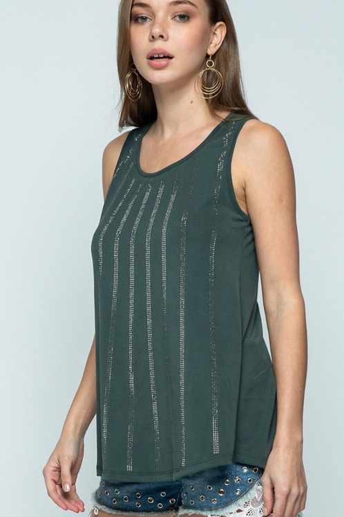 VOCAL BRAND OLIVE TANK WITH SPARKLES ON FRONT #047