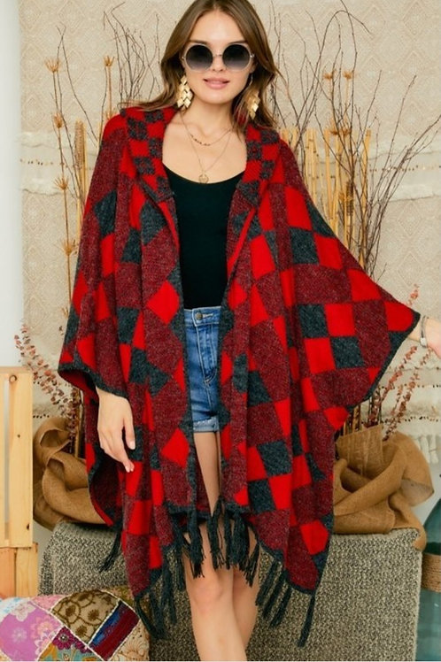 RED PLAID SUPER SOFT PONCHO CARDIGAN  WITH A HOOD #481